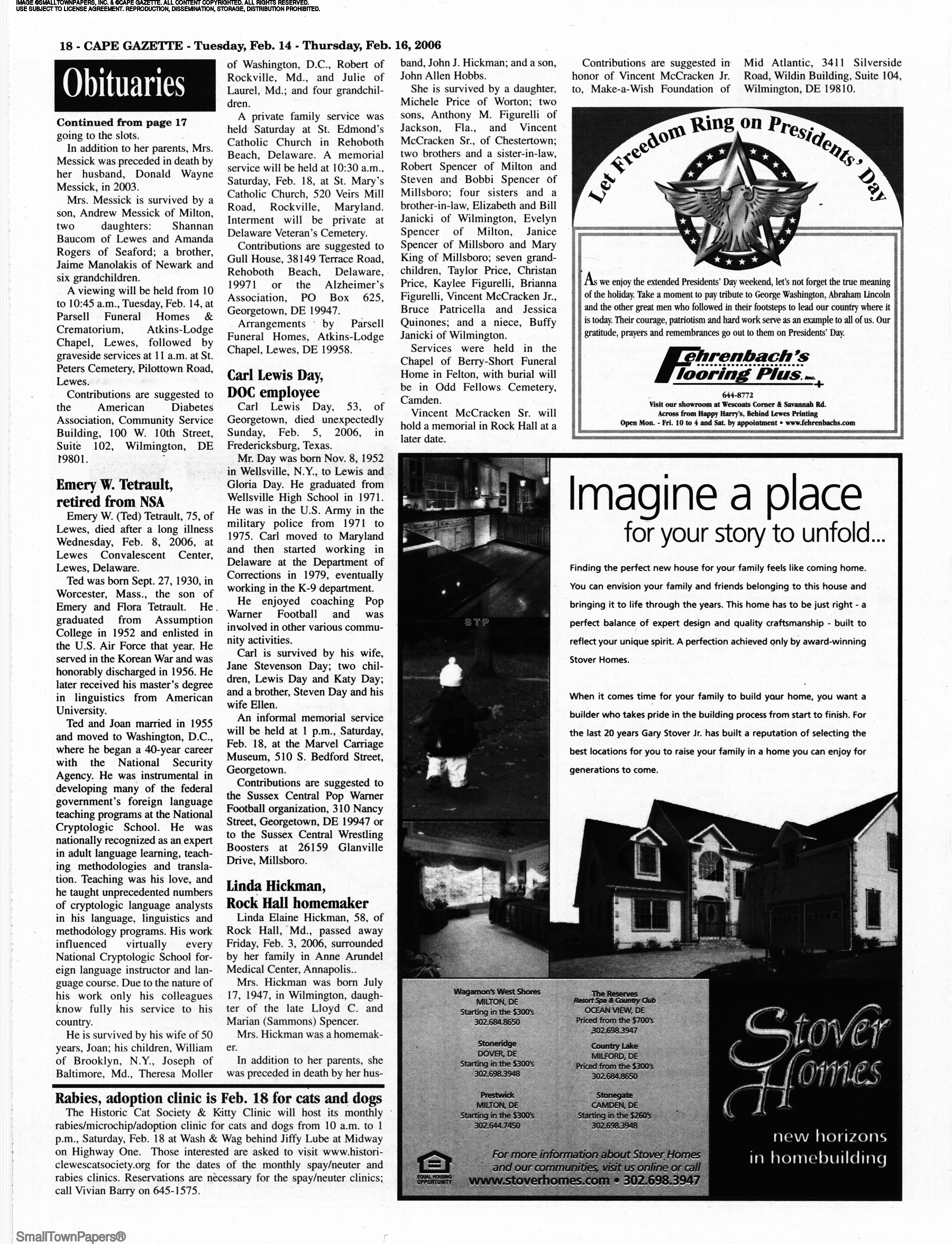 Cape Gazette February 14, 2006: Page 18